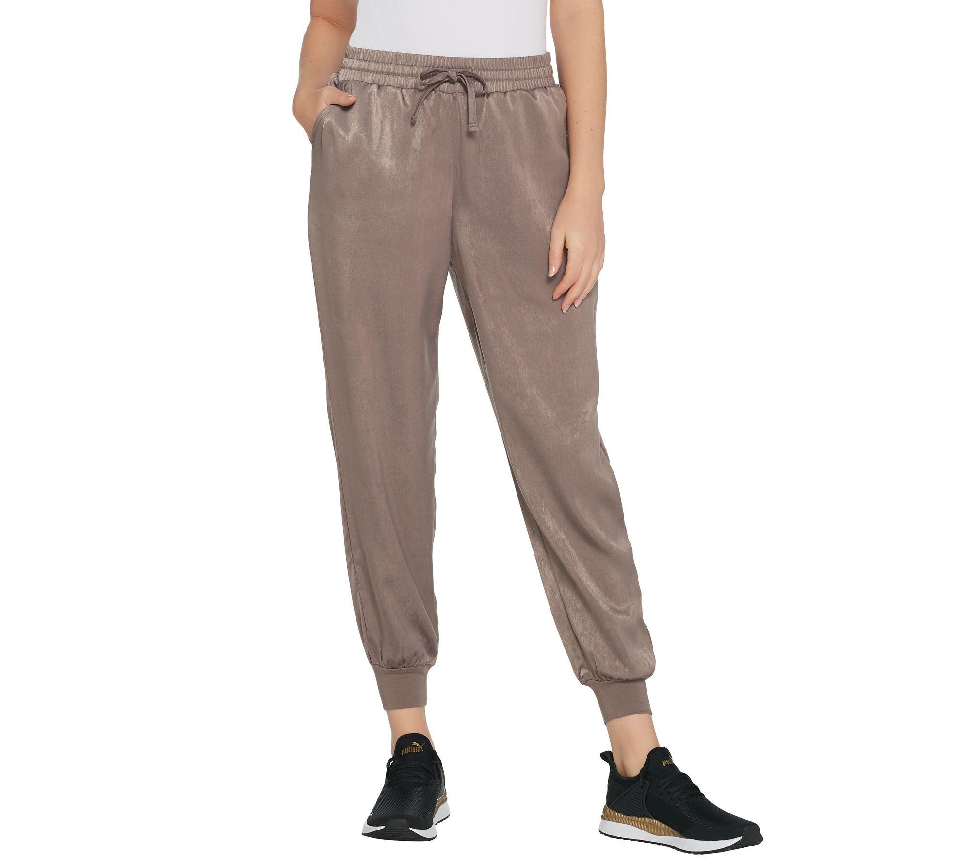 NEW CLOTH STONE WOMEN SzM  DRAWSTRING JOGGER LEG PANT SMOKE BLACK