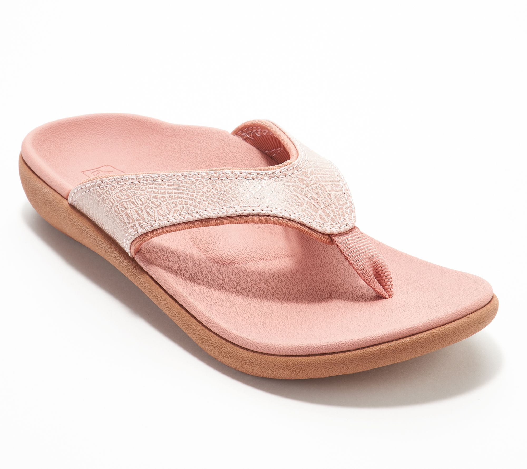0522e7e95b20f7 Spenco Orthotic Thong Sandals - Yumi Croco - Page 1 — QVC.com