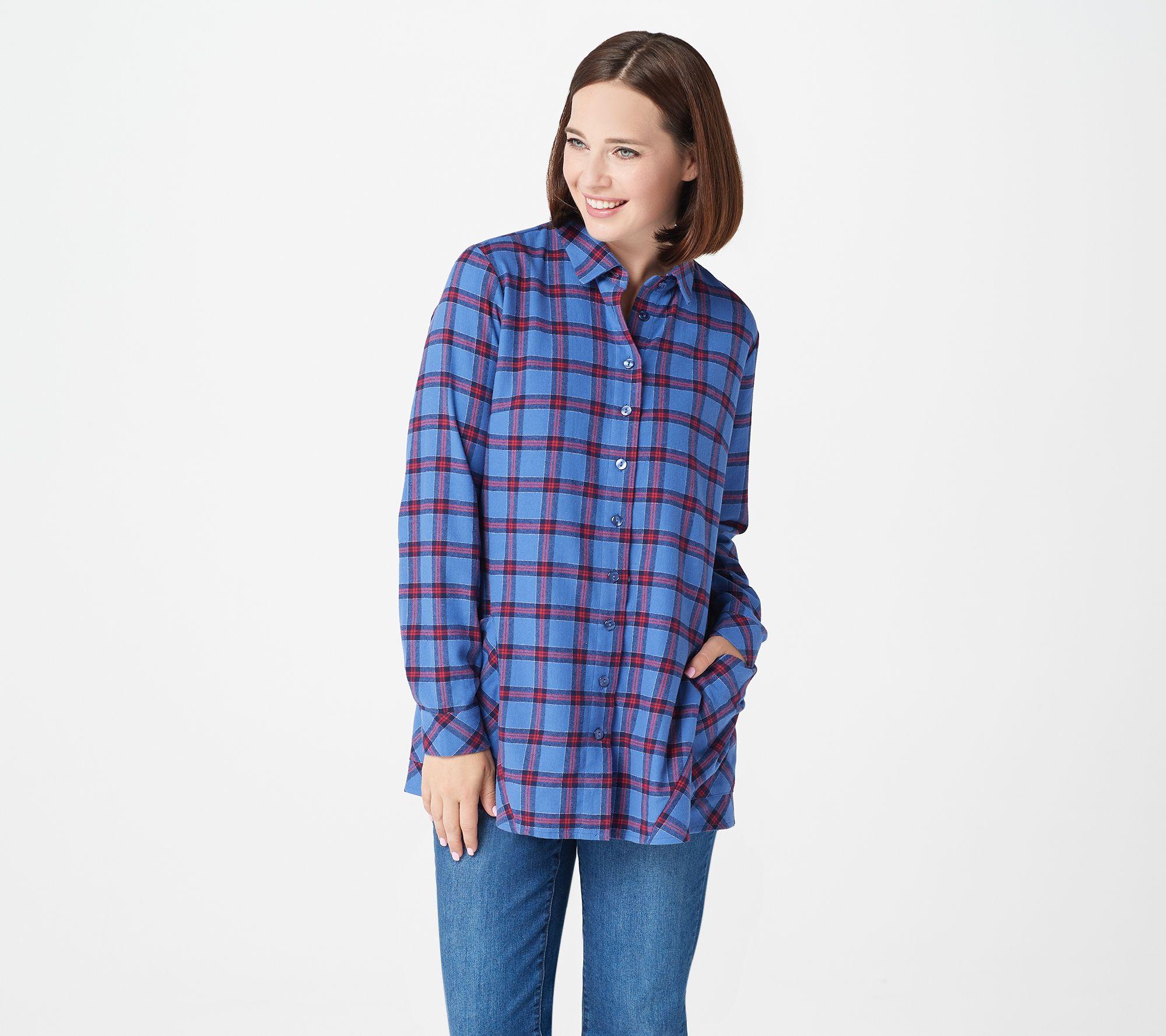 Womens Ladies Tartan Check Top long sleeve grey back Lumberjack Bella Pants