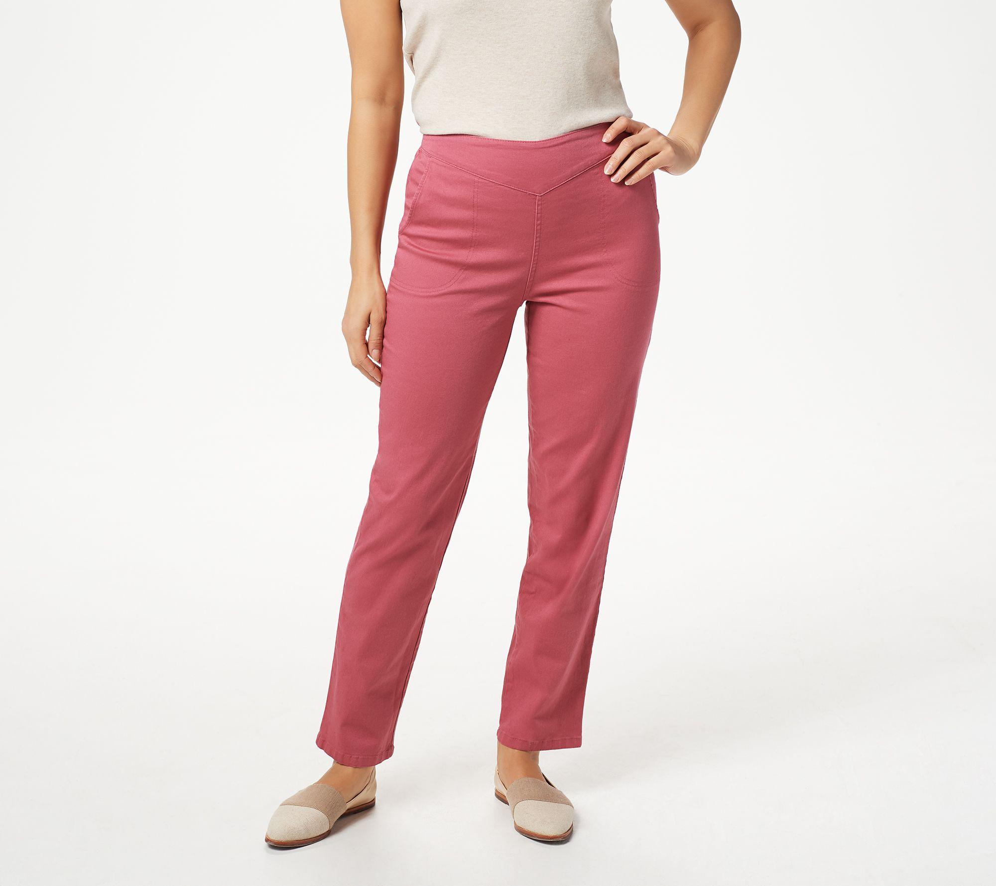 Denim /& Co Pull-On Front V-Yoke Pants Pockets Khaki M NEW A228213