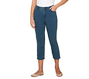 Denim & Co. Petite Comfy Knit Denim 5-Pocket Crop Jeans - A264213