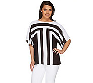 Susan Graver Printed Feather Weave Dolman Sleeve Top - A265013