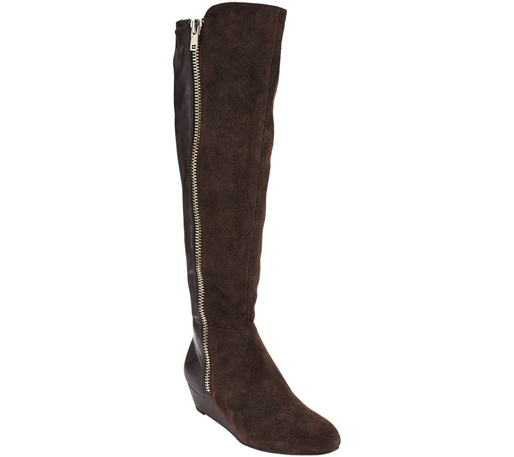 shop offer collections sale online Isaac Mizrahi Live! Leather and Stretch Fabric Wedge Boots 7dkHPGlhlD