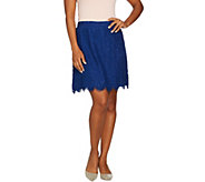 Isaac Mizrahi Live! Floral Lace Skort with Scallop Hem - A289613