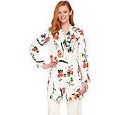 Dennis Basso Water Resistant Garden Print Button Front Jacket - A289813