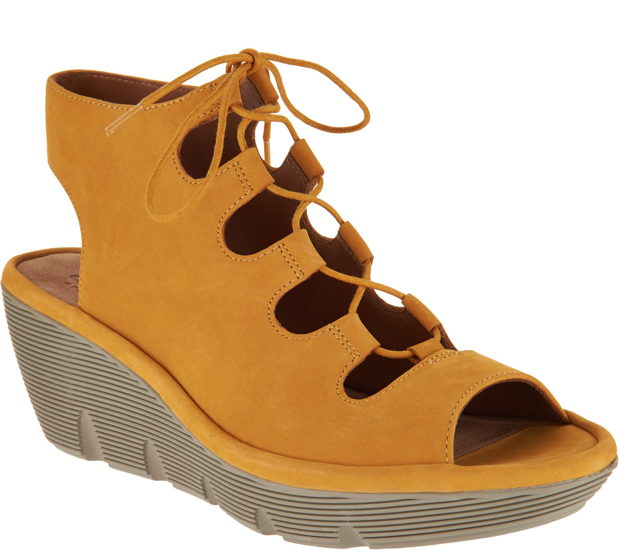 2d51ab1e8cf Clarks Artisan Leather Ghillie Wedge Sandals - Clarene Grace - Page 1 —  QVC.com