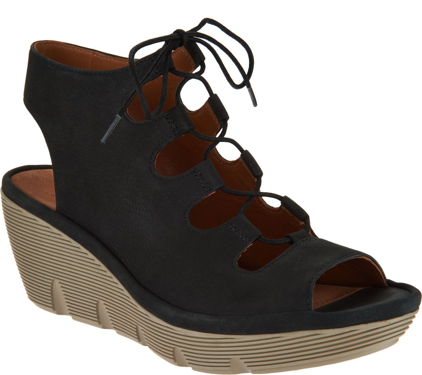 cfd218c3101 Clarks Artisan Leather Ghillie Wedge Sandals - Clarene Grace - Page 1 —  QVC.com