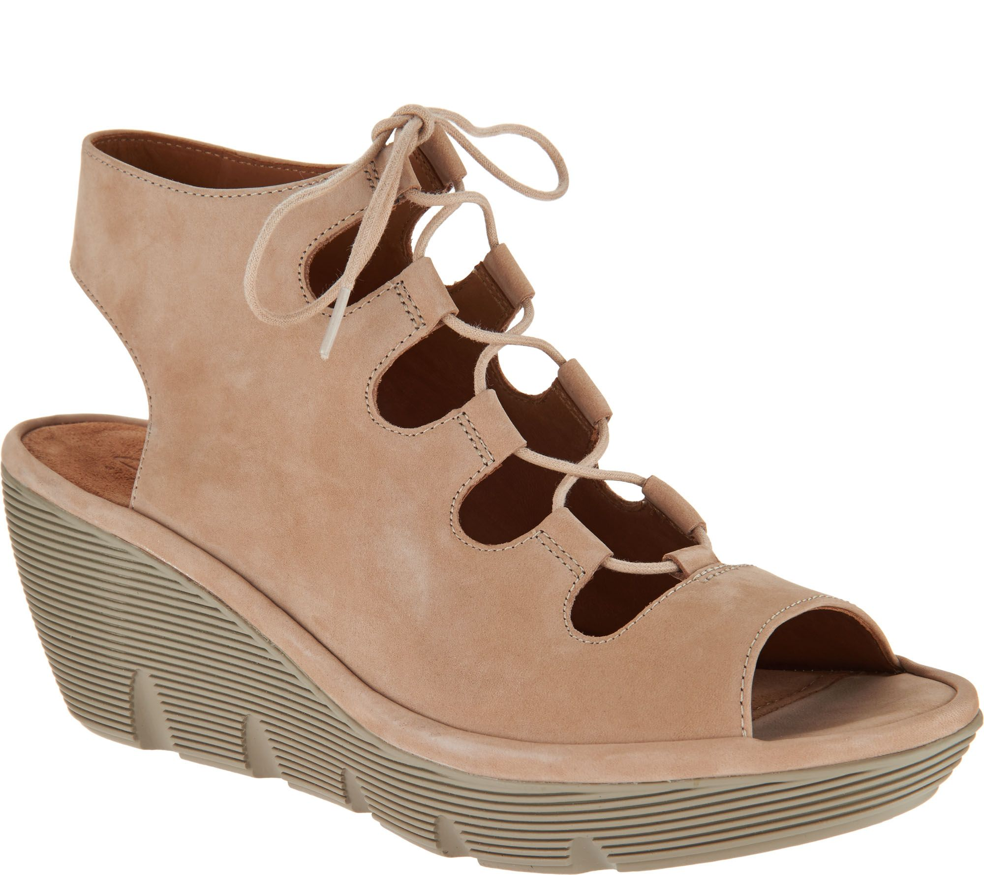 c1f7ce5085b Clarks Artisan Leather Ghillie Wedge Sandals - Clarene Grace - Page 1 —  QVC.com