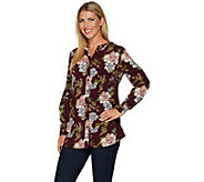 Denim & Co. Petite Floral Printed Button Front Blouse - A296213