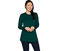 Denim & Co. Lux Jersey Crew Neck Long Sleeve Hi-Lo Hem Tunic - A299213
