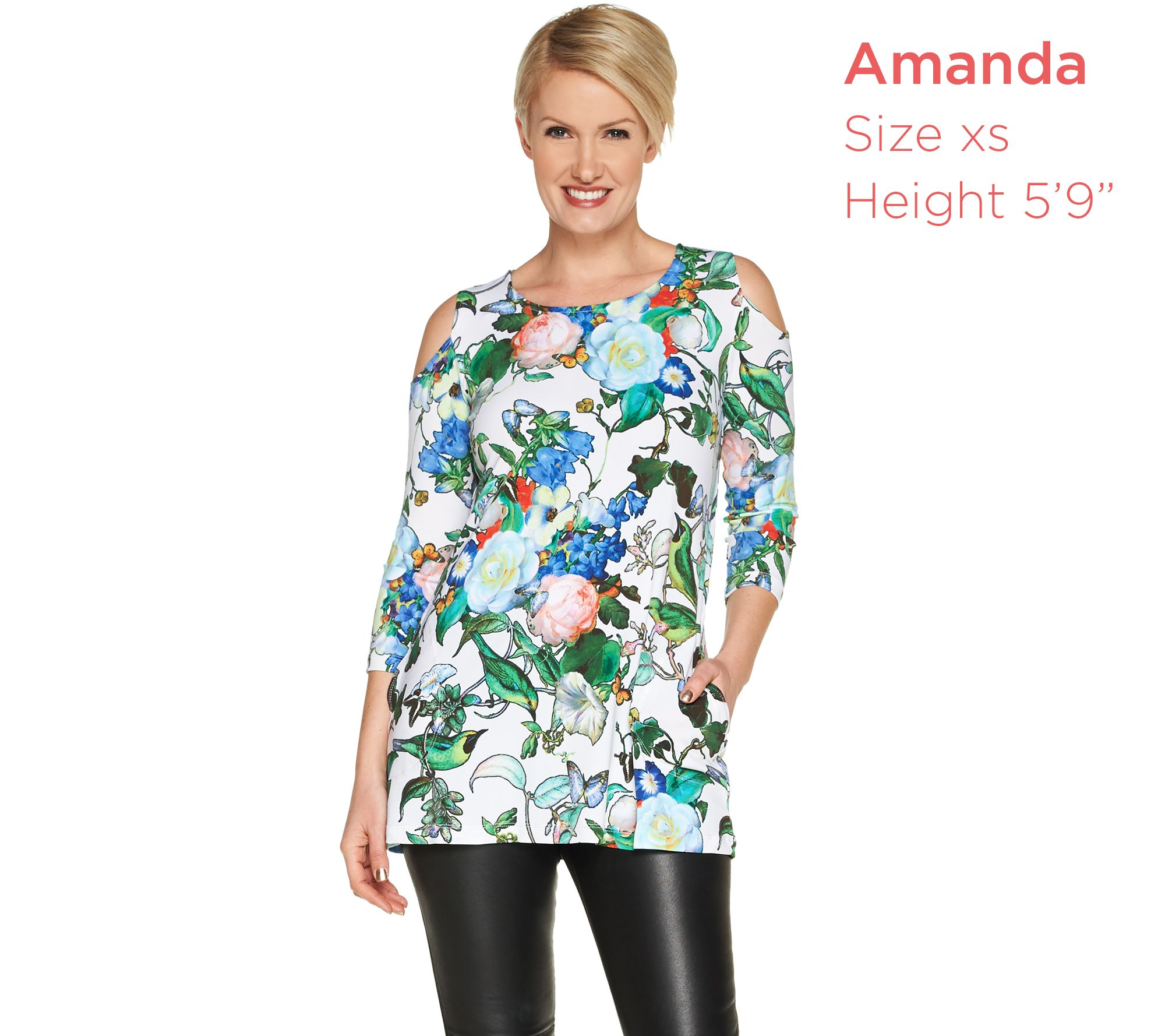 e81205e0124d03 Attitudes by Renee Jersey Cold Shoulder Tunic with Pockets - Page 1 —  QVC.com