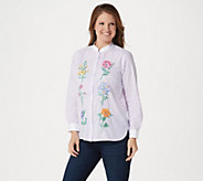 Bob Mackies Floral Embroidered Button Front Shirt - A303013