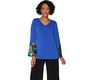 Susan Graver Liquid Knit Top with Embroidered Sleeves - A303313