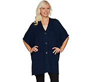 Martha Stewart Merino Wool Cable Knit Button Front Poncho - A304313