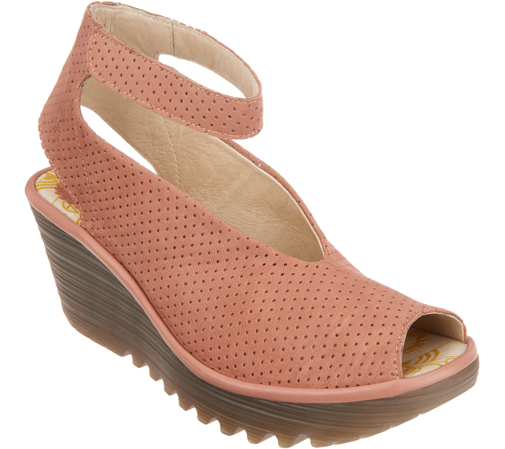2d8a5be16d7 FLY London Perforated Leather Wedge Sandals - Yala Perf - Page 1 — QVC.com