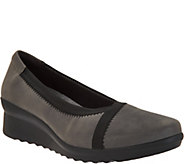As Is Clarks Cloud Steppers Low Wedge Pumps - Caddell Dash - A305813