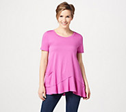 LOGO by Lori Goldstein Short Sleeve Knit Top with Asymmetric Hem - A306613