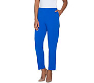 Dennis Basso Luxe Crepe Pull-On Straight Leg Pants - Regular - A307213