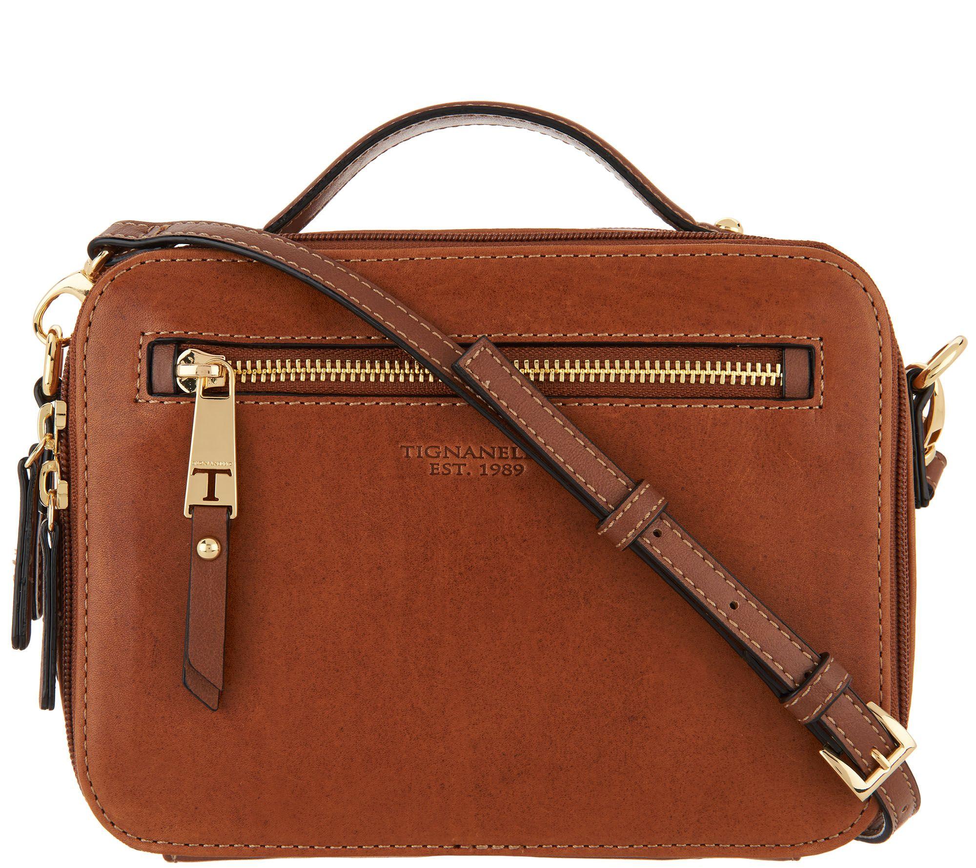 362a1a408 Tignanello Vintage Leather Camera Crossbody Bag - Atlantis - Page 1 —  QVC.com