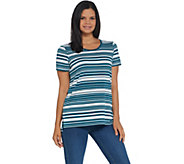 Martha Stewart Varigated Stripe Short Sleeve Ponte Knit Tunic - A342413