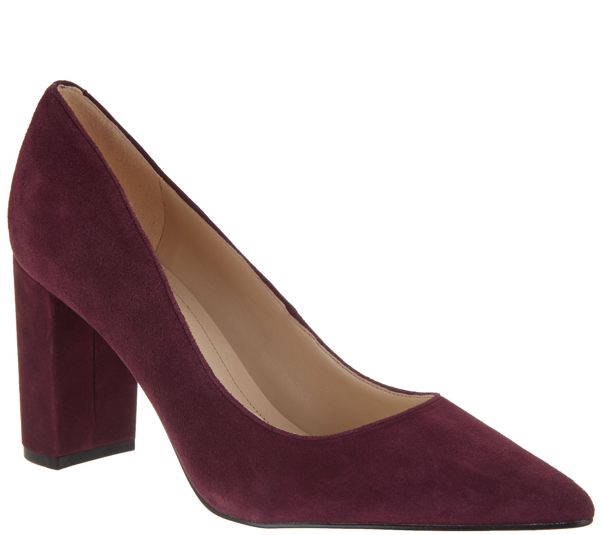 9802f27ac985 Marc Fisher Leather or Suede Block Heeled Pumps - Viviene - Page 1 — QVC.com
