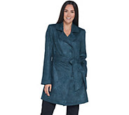 Dennis Basso Printed Faux Suede Belted Trench Coat - A343913