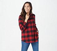 Joan Rivers Brushed Flannel Buffalo Check Boyfriend Shirt - A366213