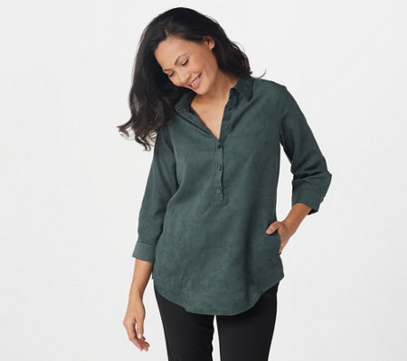 Joan Rivers 3/4 Sleeve Faux Suede Shirt with Back Button Detail