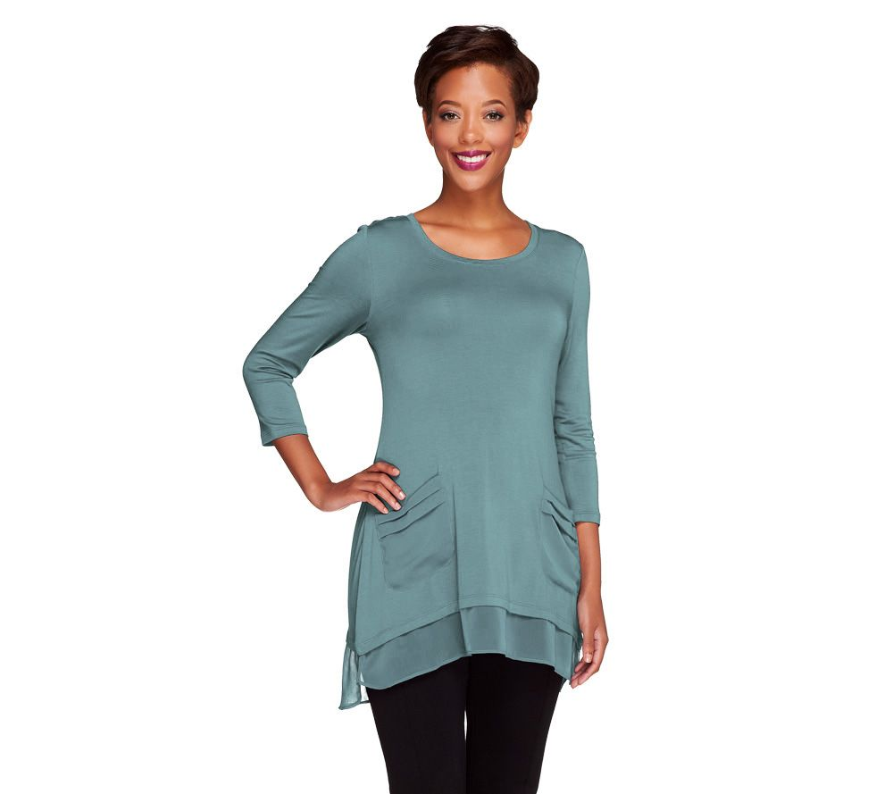 Logo By Lori Goldstein 34 Sleeve Knit Top With Chiffon Trim Page