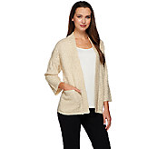 H by Halston Open Front Chunky Stitch Cardigan - A271114