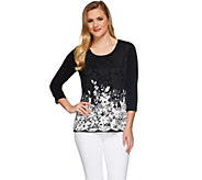 Susan Graver Printed Lace Front 3/4 Sleeve Top - A274514