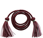 C. Wonder Faux Leather Braided Tie Belt with Tassels - A277214
