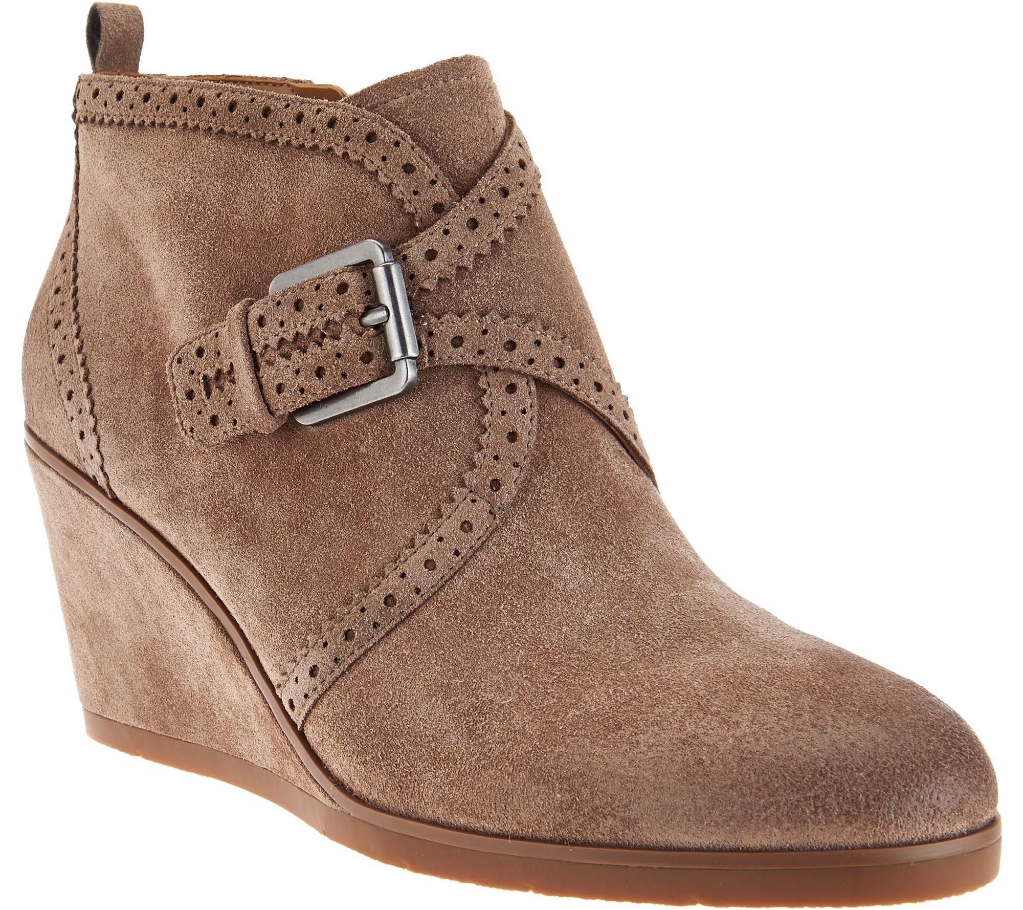 64ffbb1d3c33 Franco Sarto Suede Monk Strap Wedge Boots - Arielle - Page 1 — QVC.com