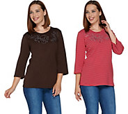 Quacker Factory Set of 2 Stripe & Solid 3/4  Sleeve T-shirt - A283314