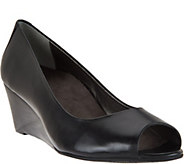 Vionic Orthotic Leather Peep-Toe Wedges - Bria - A286614