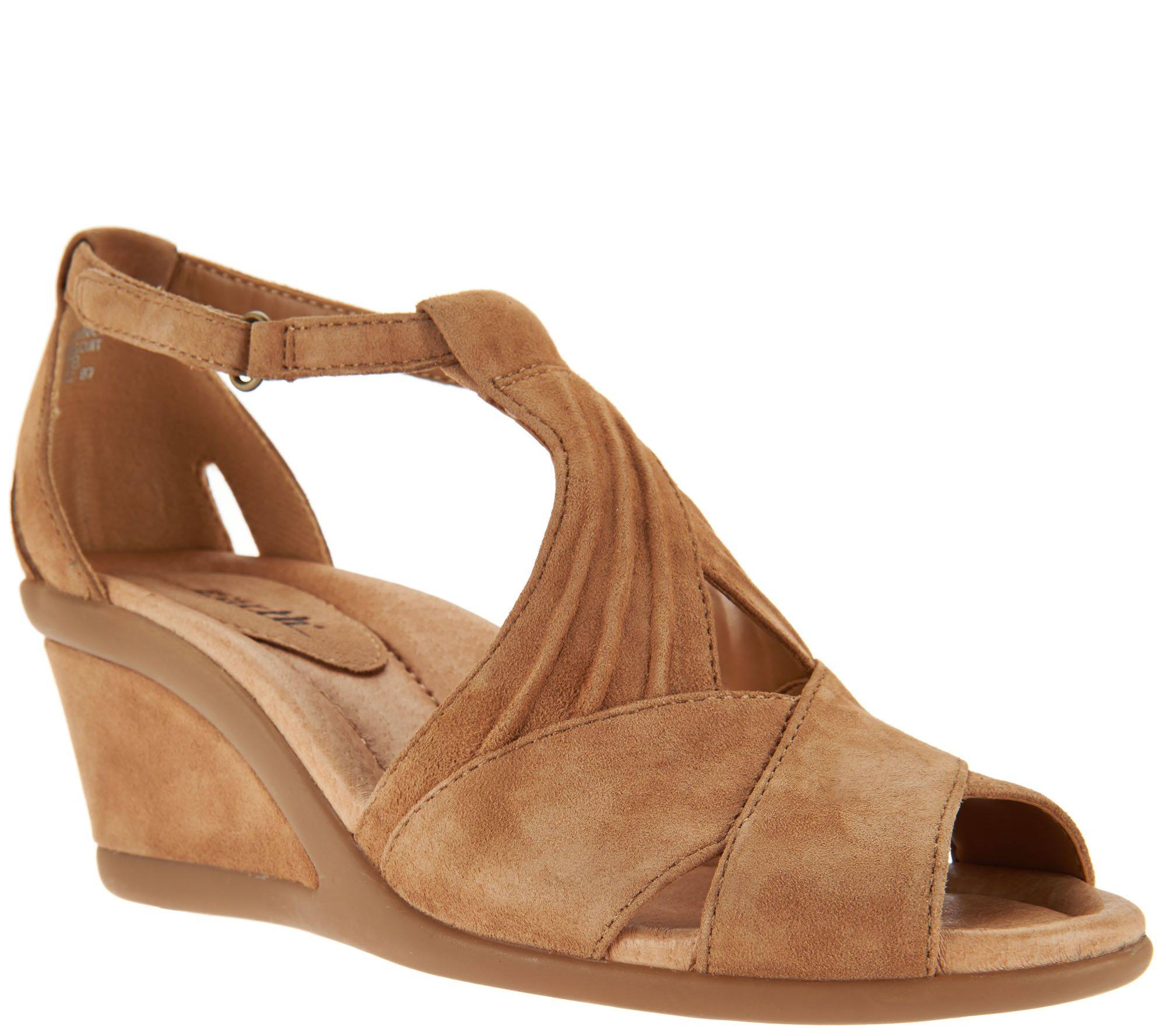 851db2cfd0ad Earth Suede Peep-Toe Wedge Sandals - Curvet - Page 1 — QVC.com