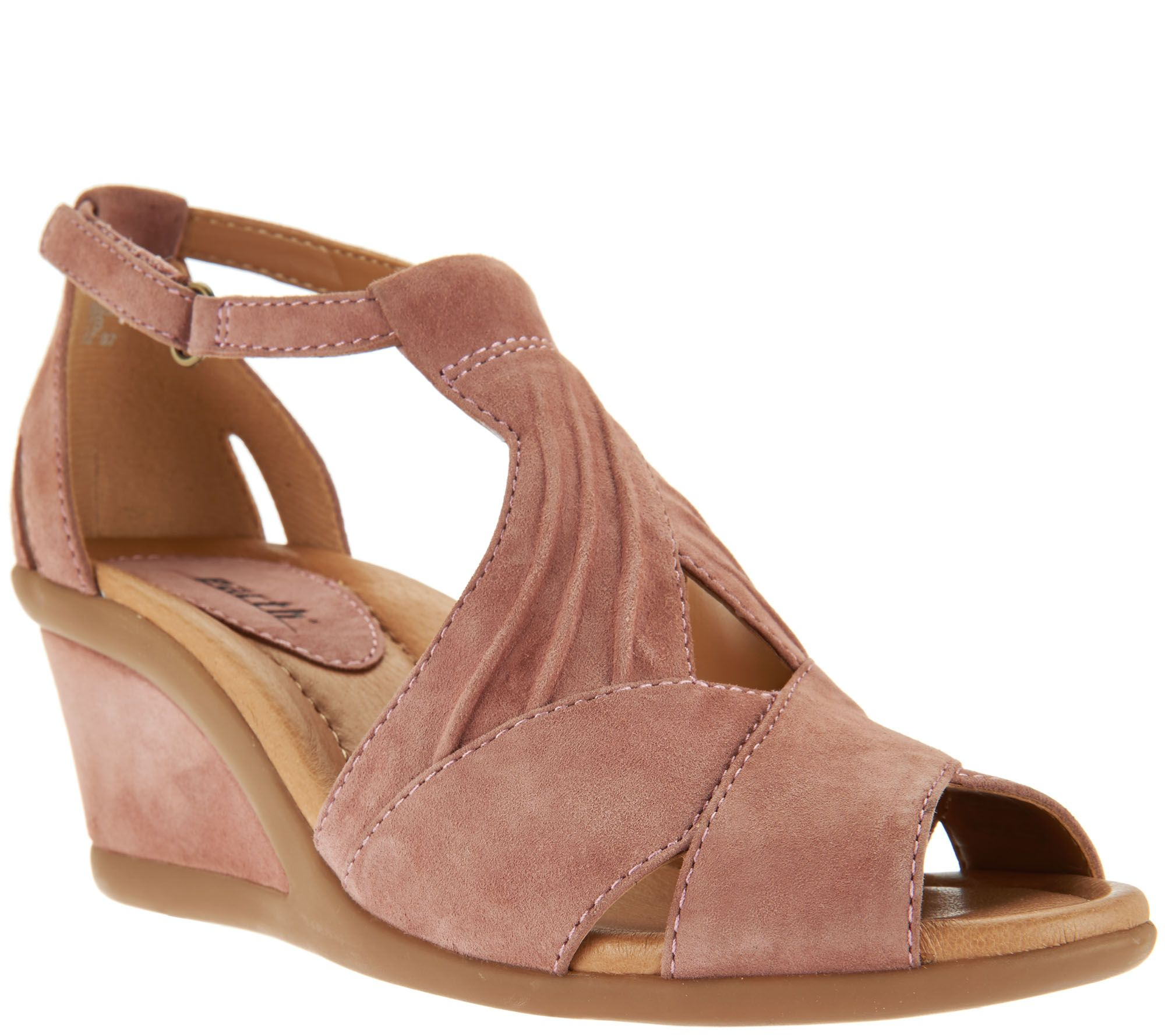 1a7fadf3d27c Earth Suede Peep-Toe Wedge Sandals - Curvet - Page 1 — QVC.com