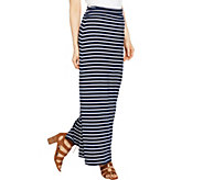 Susan Graver Weekend Striped Cotton Modal Maxi Skirt - Regular - A288514