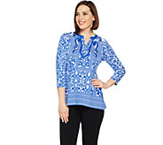 Susan Graver Weekend Printed Stretch Cotton Modal Split Neck Top - A289414