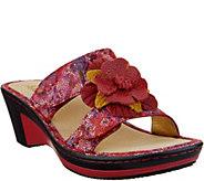 Alegria Leather Wedge Sandals w/Flower Detail - Lana - A290114