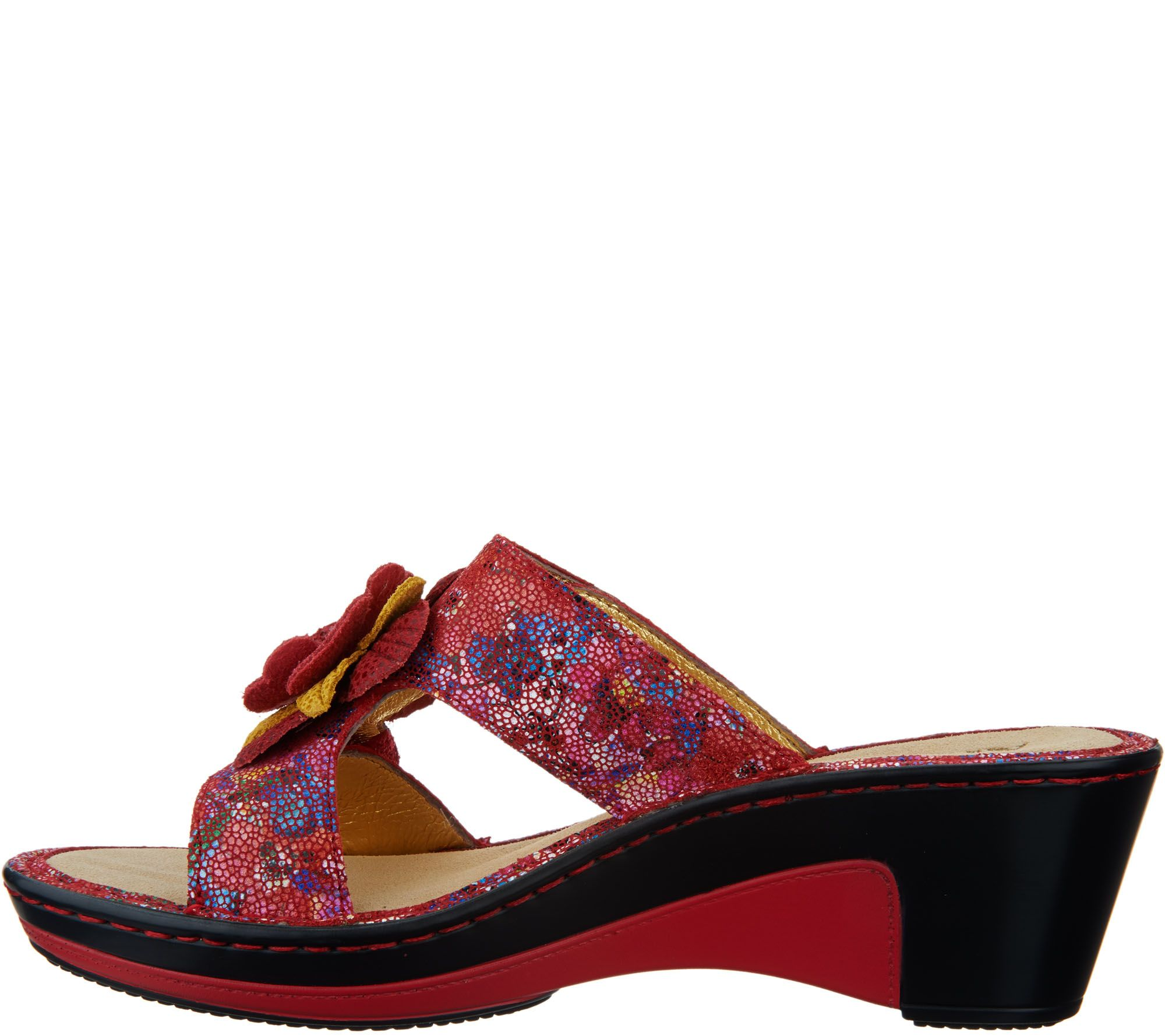 Alegria Leather Wedge Sandals W Flower Detail Lana Page 1 Sendal Flat Lisa Purple