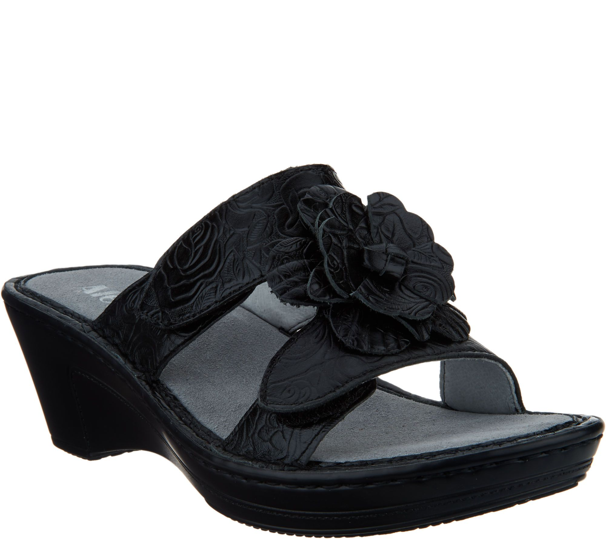 56e2f0e4f880 Alegria Leather Wedge Sandals w Flower Detail - Lana - Page 1 — QVC.com