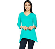 Denim & Co. Essentials 3/4 Sleeve Knit Tunic with Trapeze Hem - A291614
