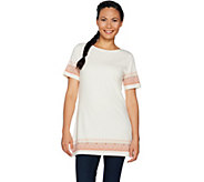 Studio by Denim & Co. Printed Scoop Neck Short Sleeve Tunic - A292514