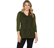 Susan Graver Weekend Animal Printed French Terry Top w/ Sequins - A293614