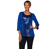 As Is Joan Rivers Sequin Panel Knit Top with 3/4 Sleeves - A295614