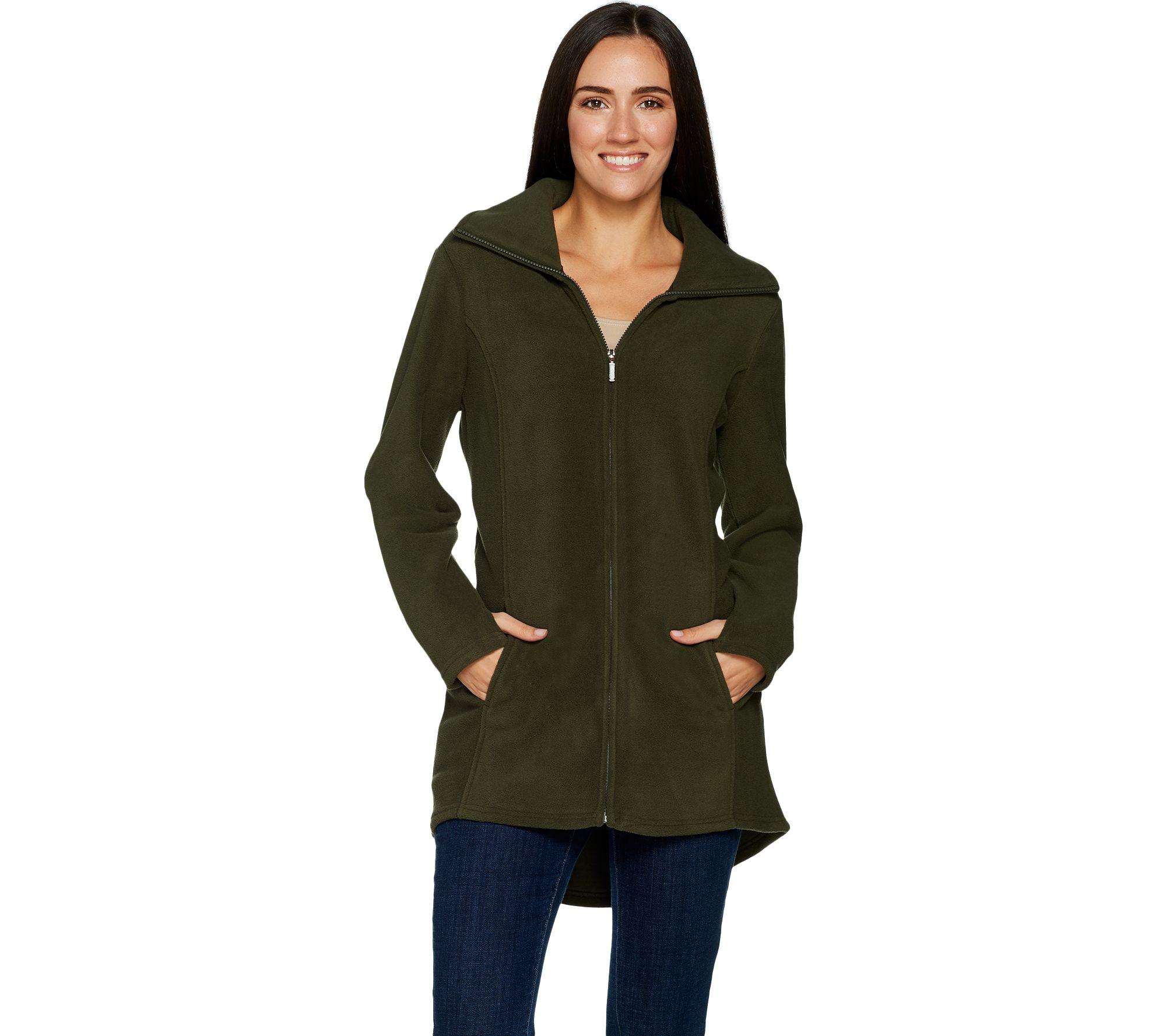 50d21480f30 Fleece Zip Front Long Sleeve Jacket with Hi-Low Hem - Page 1 — QVC.com