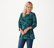 Denim & Co. Floral Printed Brushed Heavenly Jersey 3/4 Sleeve Top - A296114
