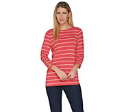 Attitudes by Renee 3/4 Sleeve Striped Top w/ Button Detail - A301314