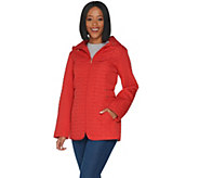 Susan Graver Quilted Jacket with Zip Pockets and Hood - A304414